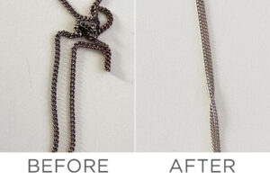 a before and after of a jewelry chain that has been cleaned with kingswood products